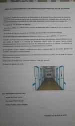 Carta de agradecimiento al servicio de Pediatría del hospital Clínico universitario de Valladolid